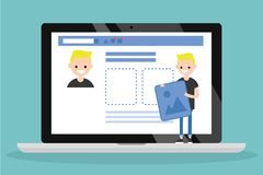 Edit your profile. Conceptual illustration. Young character uploading a photo on his social media profile / flat vector. Edit your profile. Conceptual stock illustration