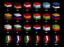 24 ` editabili di vettore di paese 3D-layered delle bandiere del ` di qualità superiore delle icone Fotografie Stock