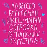 Editable комплект шрифта стиля doodle иллюстрация вектора