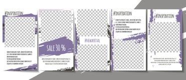 Editable социальный набор шаблонов рассказов средств массовой информации Простой minimalistic дизайн метки щетки в розовой теме п бесплатная иллюстрация