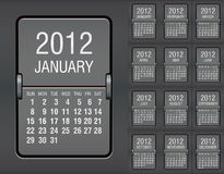 Editable 2012 calendar on mechanical scoreboard. Vector illustration Stock Photography