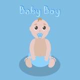 Χαριτωμένος γραφικός για το αγοράκι Νεογέννητη καλή ευχετήρια κάρτα αγοράκι Πρότυπο πρόσκλησης ντους μωρών Διάνυσμα Editable Στοκ Φωτογραφίες