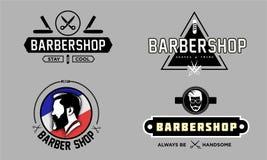 Editable barber shop logo bundle vector illustration