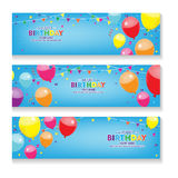 Editable blue horizontal happy birthday banner with balloon and confetti decoration set. Horizontal Happy Birthday banner with ballon and conffeti decoration Royalty Free Stock Photos