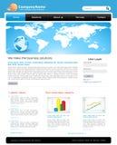 A editable business website template. A blue colored business website template with graphs Royalty Free Stock Photos