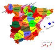 Editable colorful  map of Spain. Autonomous communities of Spain. Administrative divisions of Spain, separated provinces. Editable colorful  map of Spain Stock Image