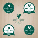 Vintage Chicken and Rooster Badge set Royalty Free Stock Image