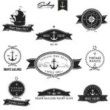 Vintage Retro Nautical Badge set Stock Photography