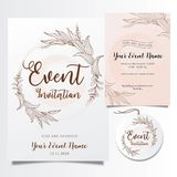 Editable event invitations with elegant elegant flower lines vector illustration