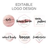 Editable feminine logo design template royalty free illustration