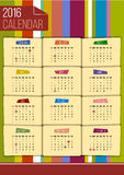 Editable funny 2016 calendar template. Editable funny 2016 calendar with USA federal holidays on color striped background Royalty Free Stock Images