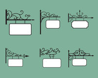 Editable Hanging sign and Banner in vintage style Royalty Free Stock Images