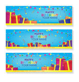 Editable happy birthday banner with gift boxes and confetti decoration set. blue background banner. Royalty Free Stock Photo