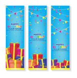 Editable happy birthday banner with gift boxes and confetti decoration set. blue background banner. Royalty Free Stock Image
