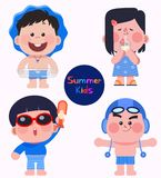 Cute and lovely summer kids in swimming suits. stock illustration