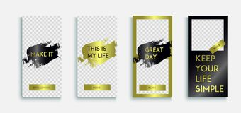 Editable instagram Luxury Stories template with gold texture. Instagram story. Streaming. stock illustration
