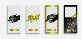 Editable instagram opowieści Luksusowy szablon z złocistą teksturą Instagram opowieść _ ilustracji