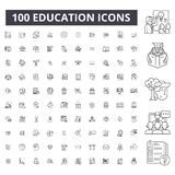 Editable Linie Ikonen, Satz mit 100 Vektoren, Sammlung der Ausbildung Schwarze Entwurfsillustrationen der Ausbildung, Zeichen, Sy lizenzfreie abbildung