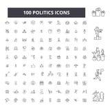 Editable Linie Ikonen, Satz mit 100 Vektoren, Sammlung der Politik Politikschwarz-Entwurfsillustrationen, Zeichen, Symbole vektor abbildung