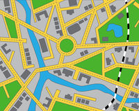 Editable map of the area. With roads, buildings, river and railway Royalty Free Stock Photography