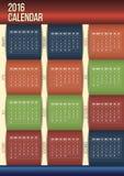 Editable moderne 2016 kalender Royalty-vrije Stock Foto