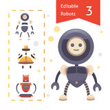 Editable robots set vector illustration. Flat robot. Editable robots set vector illustration Stock Images
