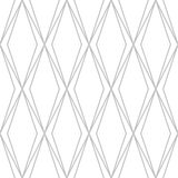 Editable Seamless Geometric Pattern. Diamond Shape Outline in Silver Color Line Art Royalty Free Stock Photography