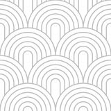 Editable Seamless Geometric Pattern. Stacking Circular Line Art in Silver Color Royalty Free Stock Image