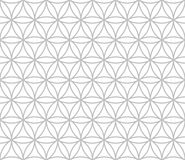 Editable Seamless Geometric Pattern Tile. Circular Outline of Hexagonal Shape in Silver Color Line Art Royalty Free Stock Image