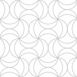 Editable Seamless Geometric Pattern Tile. Interesting Curvy Shape in Silver Color Outline Stock Image