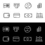 Editable set of finance icons. Money icons for web and mobile interfaces. Eps 10 Royalty Free Stock Photography