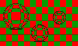 Marbles optical illusion in red and green illustration royalty free stock images