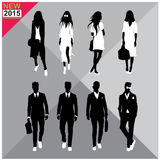 Editable silhouettes set of men and women. 8 silhouettes of women and men doing different actions Royalty Free Stock Photos
