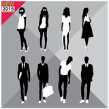 Editable silhouettes set of men and women. 8 silhouettes of women and men doing different actions stock illustration