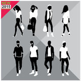 Editable silhouettes set of men and women. 8 silhouettes of women and men doing different actions Royalty Free Stock Photo