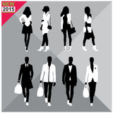 Editable silhouettes set of men and women. 8 silhouettes of women and men doing different actions royalty free illustration