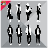 Editable silhouettes set of men and women. 8 silhouettes of women and men doing different actions Stock Images