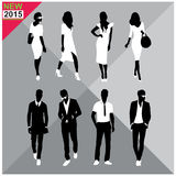 Editable silhouettes set of men and women. 8 silhouettes of women and men doing different actions Stock Photo