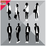 Editable silhouettes set of men and women. 8 silhouettes of women and men doing different actions Stock Photography