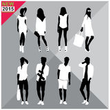 Editable silhouettes set of men and women. 8 silhouettes of women and men doing different actions Stock Photos