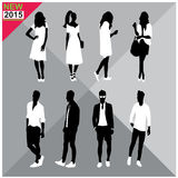 Editable silhouettes set of men and women. 8 silhouettes of women and men doing different actions vector illustration