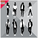 Editable silhouettes set of men and women. 8 silhouettes of women and men doing different actions Royalty Free Stock Images