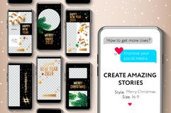 Editable stories templates, Merry Christmas and Happy New Year, streaming, create your amazing stories, set for brands and blogger stock images