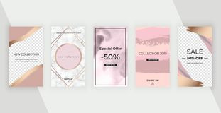 Editable stories templates for social media banners with watercolor brush stroke texture, polygonal line frame and marble texture. Modern covers design for vector illustration