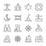 Editable stroke Marine Nautical line icon set vector illustration