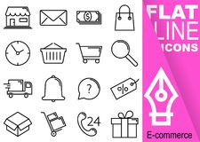 Editable stroke 70x70 pixel. Simple Set of Commerce vector sixteen flat line Icons with vertical purple banner - shop, envelope, m Stock Photo