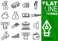 Editable stroke 70x70 pixel. Simple Set of finance vector sixteen flat line Icons with vertical green banner - purse, banknote, co. In, hand, treasury, payment Stock Photos