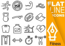 Editable stroke 70x70 pixel. Simple Set of fitness vector sixteen flat line Icons with vertical orange banner - run, muscles, swim. Crank, rope, towel, weight vector illustration