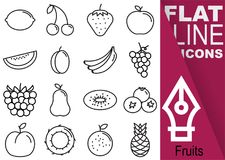 Editable stroke 70x70 pixel. Simple Set of fruits vector sixteen flat line Icons with vertical banner - lemon, cherry, strawberry,. Apple, melon, plum, banana Stock Image