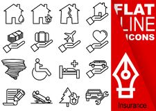 Editable stroke 70x70 pixel. Simple Set of insurance vector sixteen flat line Icons with vertical red banner - fire, flood, earthq. Uake, house, finance, travel Royalty Free Stock Photos